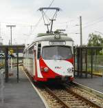 gt8-duwag-82-116/976/oeg-wagen-91-steht-in-schriesheim OEG Wagen 91, steht in Schriesheim OEG BF und wartet auf Weiterfahrt Richtung Weinheim